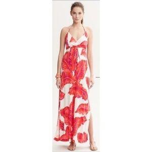 Milly X Banana Republic Silk Red Leaf Maxi Dress